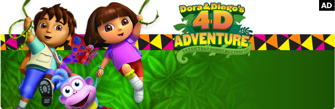 Join Dora and Diego in a high-speed chase to protect the world's animals from Swiper's newest invention. Families can watch a 3D film and experience 4D effects like bubbles, scents, and seat vibrations.